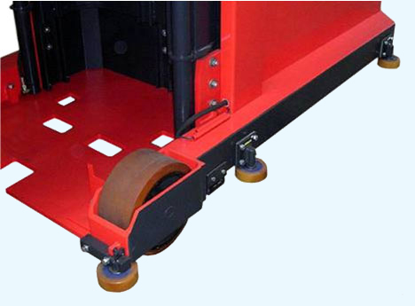 View of guide rollers on EK narrow aisle turret forklift for easy aisle entry