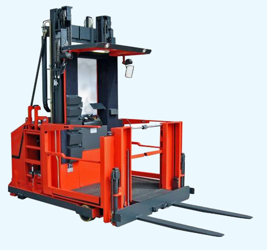 EV order selecting forklift with auxiliary lift and walk thru to load capability