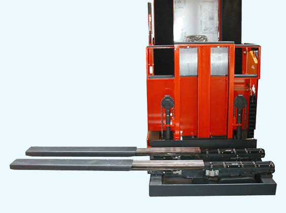 "Telescopic forks handle loads in aisles 8"" larger than the load insertion depth"