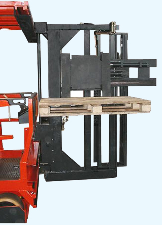 VNA application - to handle different load size widths while reducing overall vehicle length as well as the ability to order pick from smaller pallets