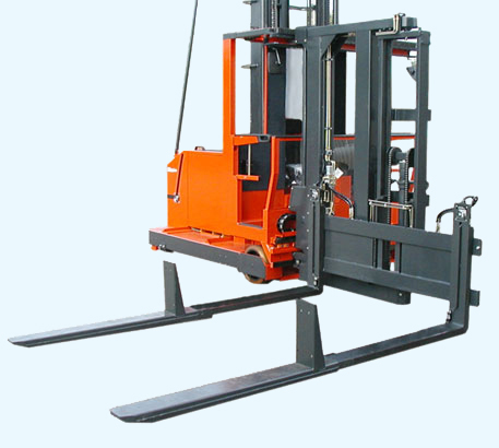 Double deep pallet storage with a manup turret forklift.