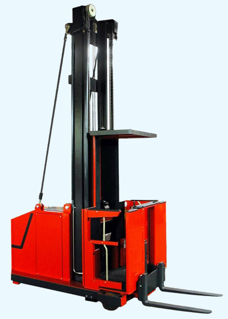 Order selecting forklift with auxiliary lift and enclosed cab