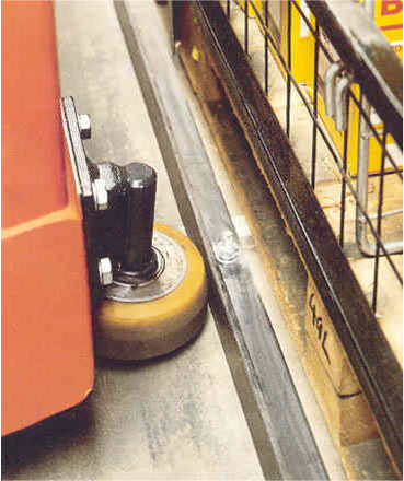 Guide rail and roller in operation