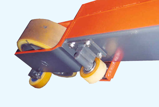 Front mounted multiple guide rollers with rail detection sensors