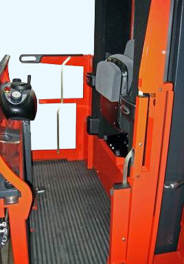 Fold up seat supports operator in a standing position