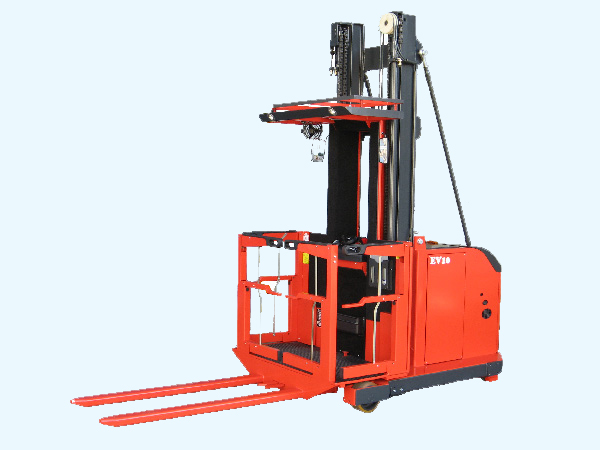 Safety first enclosed operator compartment sit / stand order selector forklift